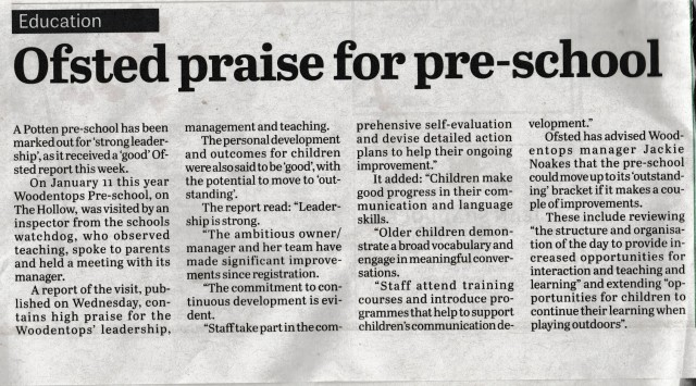 Ofsted Newspaper Report  Preschool Childcare